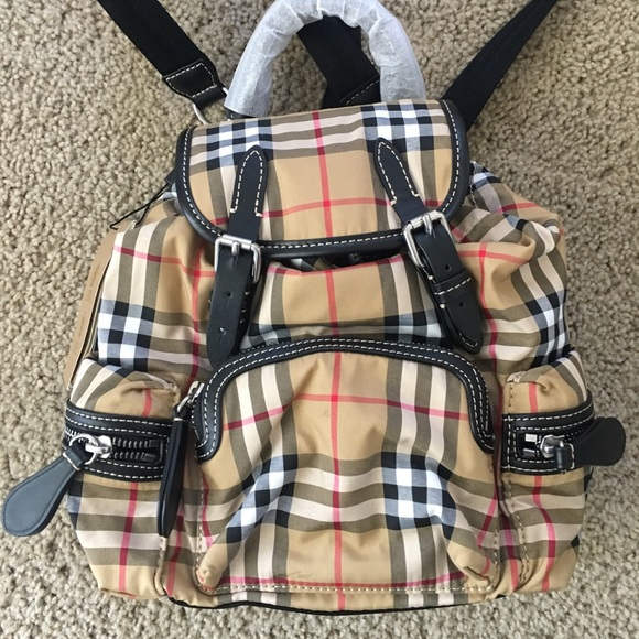 66ca59fffe38 Small Burberry Rucksack in Vintage Check Canvas
